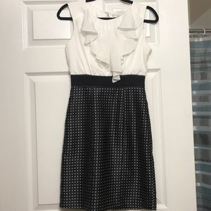 White and black dress with ruffle top